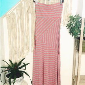 Wet Seal Coral & Gray Stripe Strapless Maxi Dress